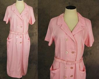vintage 50s Wiggle Dress - 1950s Pink Linen Button Front Day Dress Sz L XL