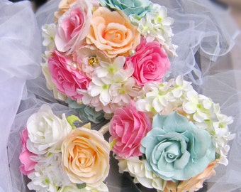 Bridal Bridesmaid Bouquet Rose Flowers Bridesmaid bouquet Pink Aqua Champagne Chic Wedding, toss flower girl set (B010)