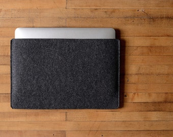 "Simple MacBook Air / MacBook Sleeve - Charcoal Felt - Long Side Opening for 11"" MacBook Air, 13"" MacBook Air or 12"" MacBook"