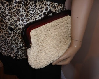 50's Vintage Crocheted Clutch with Bakelite Clasp