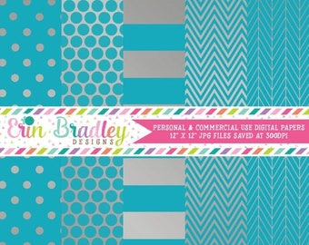 50% OFF SALE Silver Foil & Blue Digital Paper Pack Commercial Use Digital Scrapbook Papers Polka Dots Stripes Herringbone and Chevron