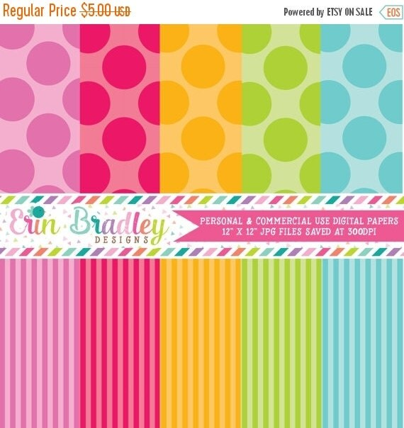 70% OFF SALE Digital Scrapbook Paper Personal and Commercial Use Colorful Polka Dots and Stripes