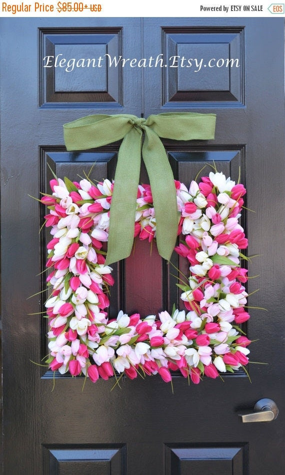 SPRING WREATH SALE Pink Tulip Square Spring Wreath- Door Wreath- Easter Wreath- Tulip Wreath- 20 inch shown, custom colors- The Original Tul