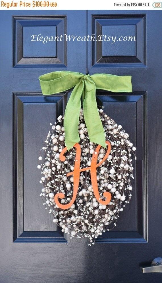 SPRING WREATH SALE Monogram Easter Egg Wreath, Easter Decoration, Easter Decor Wreath Easter Monogram Wreath- Spring Wreath