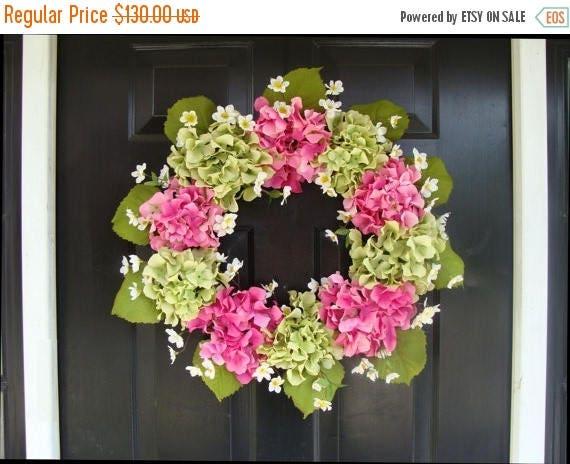 SUMMER WREATH SALE Hydrangea Spring Wreath- Hydrangea Wreath- Summer Wreaths- Wedding Wreath- Spring Decor- Spring Wreath