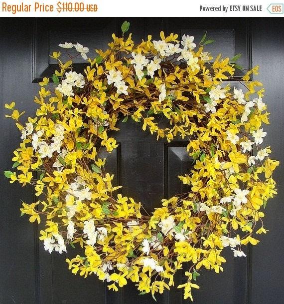 SUMMER WREATH SALE Year Round Wreath- Spring Forsythia Wreath- Forsythia Spring Wreath-Door Wreath 24 inch