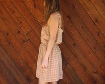 extra 30% off sale . . . Plaid Silk Sleeveless Mini Sun Dress - Vintage 80s - MEDIUM Petite