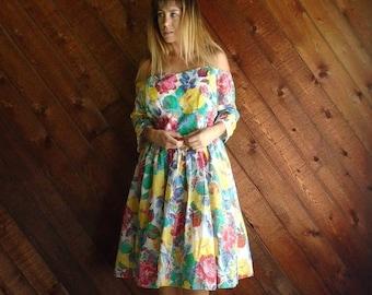 25% off Flash Sale . . . Patina Rose Vintage 1950s Off Shoulder Boat Neck Cupcake Mini Dress LARGE L XL