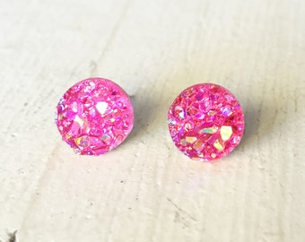 Pink Faux Druzy Earring, Faux Druzy 8mm, Pink Cabochon, Pink Druzy Earring, Metallic Earrings, Glitter Stud Earrings / 1m