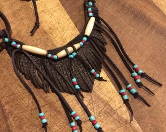 Freeform leather fringed necklace