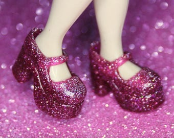 Blythe Deep Dusty Pink with Glitter Platform Mary Jane Doll shoes