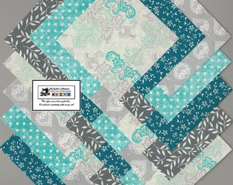 "40~4"" Teal & Gray Fabric Squares/Quilt/Craft/Sewing/Charm Packs #0898"