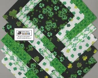 "40~4"" IRISH_ST PATRICKS_CELTIC Fabric Squares/Quilt/Craft/Sew/Charm Pack #0905"
