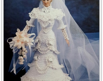 Crochet Bride Doll Gown Pattern - Fashion Doll Size - PDF