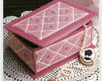 Jewelry Box Pattern In Plastic Canvas - Trinket Box - Instant Download PDF PC671723