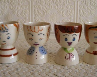 4 vintage egg cups Advertising Eat Michigan Eggs Serving Egg holder People Breakfast Kitchen and Dining Kitschy Dining and Serving
