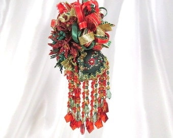 Victorian Christmas Ornament in Red, Green Gold with Swarovski Crystals
