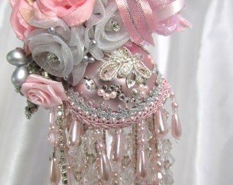 Pink and Gray Beaded Victorian Ornament with 70 Swarvoski Crystals and Pearls