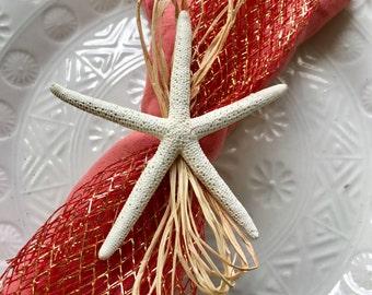 White Starfish Napkin Ring with Copper Mesh Ribbon - Beach Wedding - seashore - shells