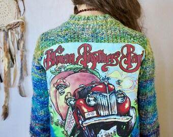 Allman Brothers Band Patchwork Mandala Peach Truck Hippie Knit Upcycled Sweater Cardigan Jacket OOAK Bohemian Size Medium