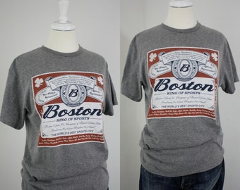 Boston King of Sports Beer Label Gray Heather T-Shirt Limited Edition Tee Unisex Med Large 36 Chest Boston Pride