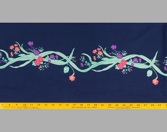 1970s Fabric Double Knit Dark Blue, Group of flowers down center, Vining flowers on sides, Vertical design, 1 yd 17 ins long, 63 in wide