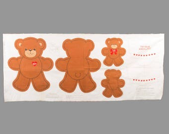 Luv Bear Cut-Outs, VIP screen print, Cranston Print Works Co, Two brown printed bears and T Shirt, Make a pattern, make more, Pristine