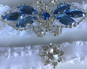 Something Blue Wedding Garter Set / Bridal Garter Set / Lace Garter / Vintage-inspired Garter