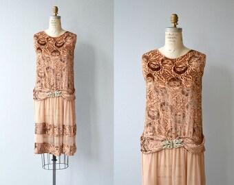 Savoir Faire dress   vintage 1920s dress   devoré silk 20s dress