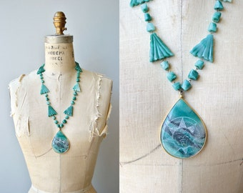 Mexican Agate necklace | vintage 1960s mexican necklace | turquoise beaded 60s necklace