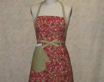 Paisley Rust chef apron oven mitt pocket with eyelet lace trim cotton fully lined top stitched rst olive green burgundy