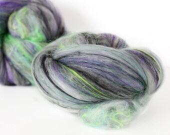 Black Licorice 2.8 oz  Wool - Merino Mixed Art Batt // Wool Art Batt for spinning or needle felting