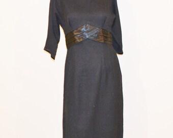 1950's Black Gabardine Tux Style Dress