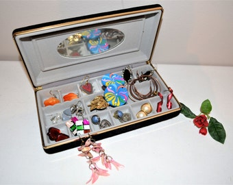 Earring Collection in Vintage Travel Box........12 Pairs