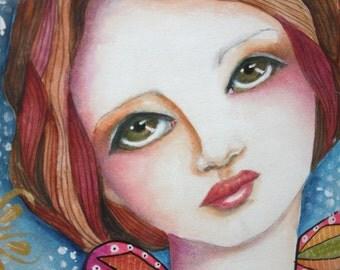 ANGEL 9 x 12  ORIGINAL on  140 lb. watercolor paper