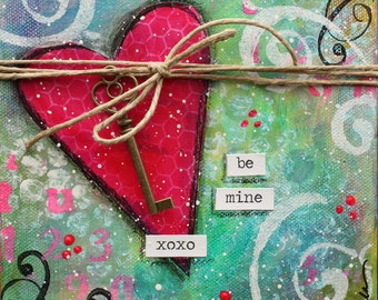 Be Mine Valentine 6x6 canvas