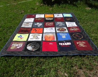 Queen Size Tshirt Memory Quilt made with School 30 Tee Shirts
