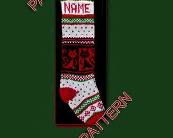 Hand knit Christmas stocking,  pattern only --- black and red cats, snowflake