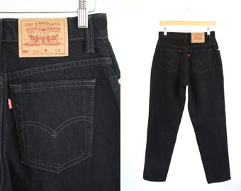 Vintage LEVI 551 Relaxed Fit Tapered Leg High Waist Black Denim Unisex Men's or Women's Red Tab Retro Jeans