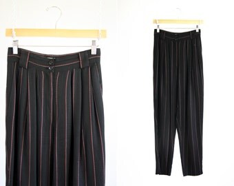 Vintage Moods by Krizia High Waist Red white and Black Pin Stripe Made in USA Paper Bag Loose Fit High Waist Tapered Leg Woman's Retro Pants