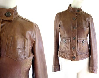 Classic Brown Leather Cropped Woman's Gap Brand Coat