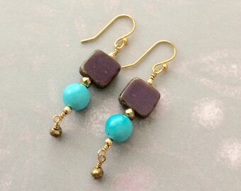 Purple Turquoise and Gold Earrings