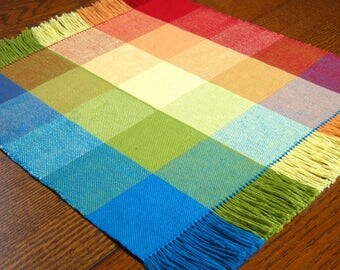 "16"" Fiesta Hand Woven Table Mat Woven Rainbow Table Mat Rainbow Table Topper Woven Plaid Candle Mat Rainbow Woven Coffee Table Scarf"