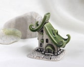 Reserved for Nancy -  Green Romantic house of tiny fairies -- Hand Made Ceramic Eco-Friendly Home Decor by studio Vishnya