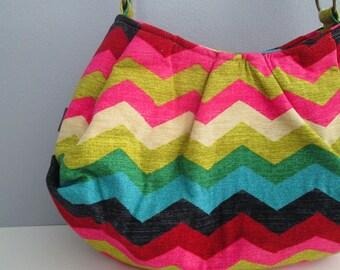 Large Pleated Shoulder Bag, Hobo Handbag, Chevron Shoulder Bag, Fabric Shoulder Bag, Pleated Purse, Chevron Handbag