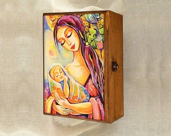 Mother and child motherhood art tree of life, feminine painting, wooden gift box, mother box, christian box, jewelry box, 7x10