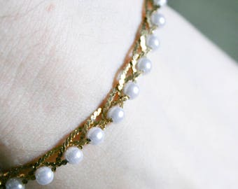 Gold Plated and Faux Pearl Dainty Bracelet