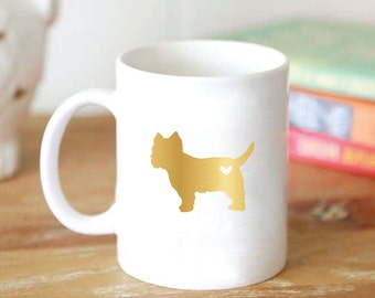 Custom Puppy Love Dog Silhouette Mug - Dog Coffee Mug - Foil Dog Silhouette Mug - Gold or Silver 15 oz