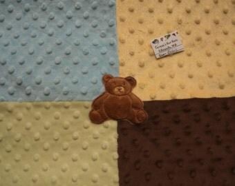 SALE!  Baby Patchwork Quilt, Baby Fleece Blanket, Baby Patchwork Minky Quilt