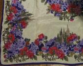 Vintage Oscar de la Renta 100% Silk Scarf - Hydrangea Floral Design